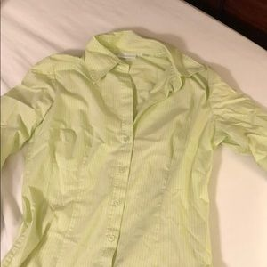 Green and white button down top
